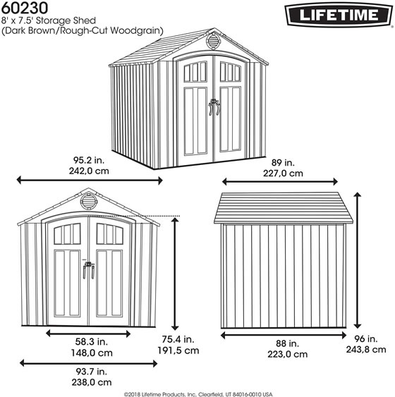 Lifetime 8x7 Shed 60230A - Measurements Diagram