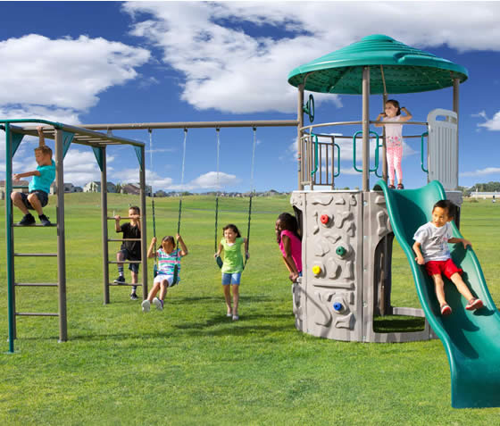 The Lifetime Adventure Tower Deluxe Swing Set has enough activities to keep kids busy for hours!