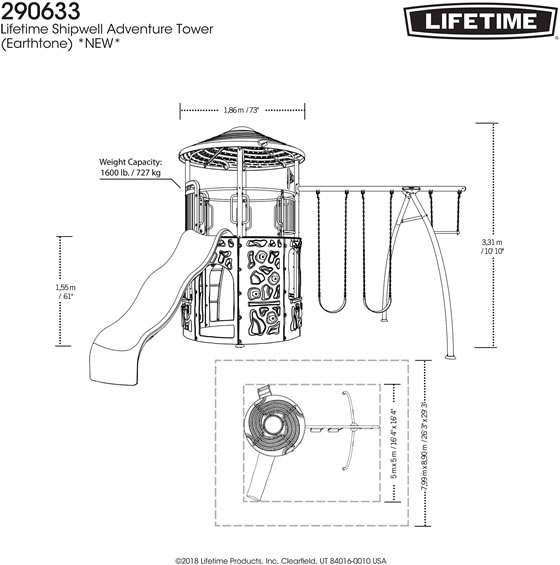 Lifetime Adventure Tower Swing Set 290633 Measurements