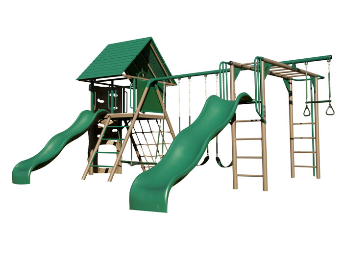 Lifetime Deluxe Double Slide Earthtone Swing Set