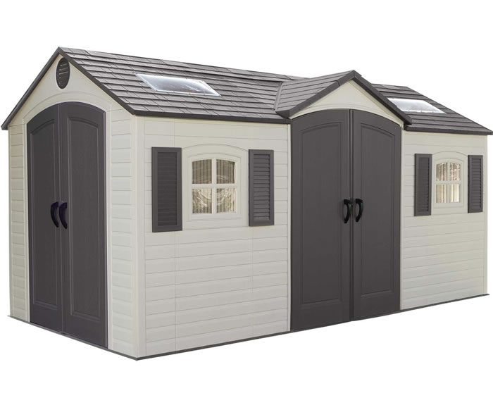 lifetime 15x8 plastic storage shed kit w double doors