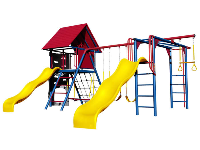 Lifetime Deluxe Double Slide Primary Colors Swing Set