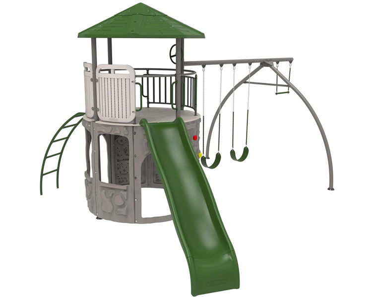 Lifetime Shipwell Adventure Tower Swing Set - Earthtone