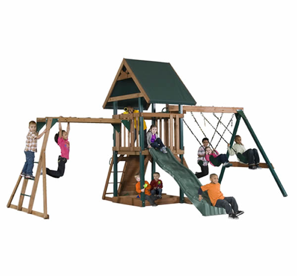 Mongoose Manor Deluxe Wood Swing Set w/ Monkey Bars