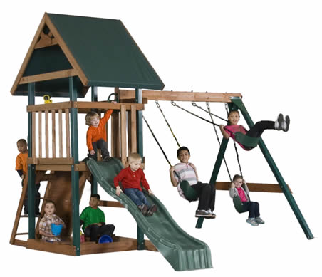 Mongoose Manor Wood Swing Set - Backyard Sheds & Play