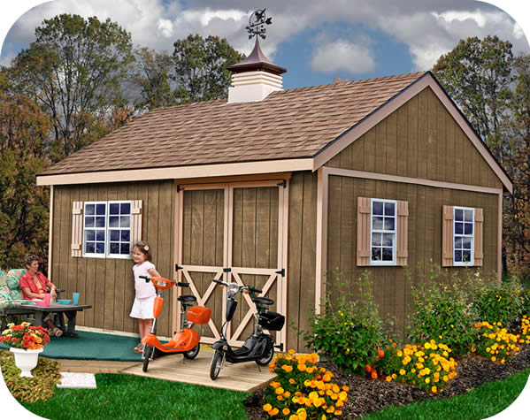 New Castle 16x12 Wood Storage Shed Kit - ALL Pre-Cut