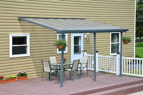 Palram 10x14 Feria Gray Patio Cover Kit HG9414 Assembled On Backyard Patio