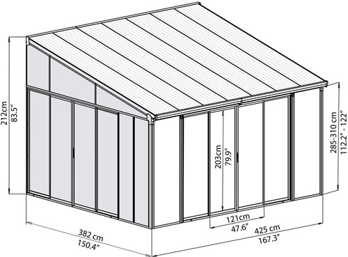 Palram 13x14 SanRemo Sunroom HG9068 Measurements Diagram
