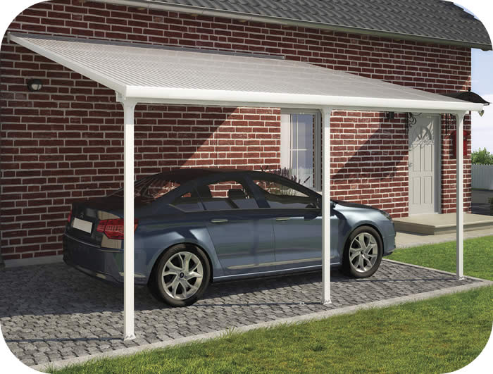 Palram 13x20 feria attached metal carport kit hg9140 for Carport deck