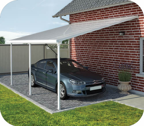 5 Car Metal Carport : Palram feria attached metal carport kit hg