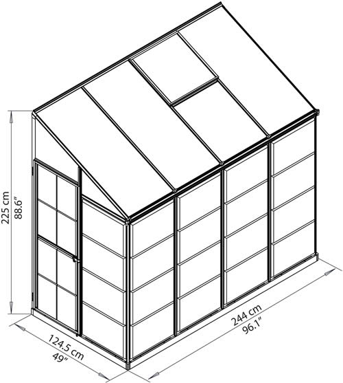 Palram 4x8 Hybrid Greenhouse Kit Measurements Diagram
