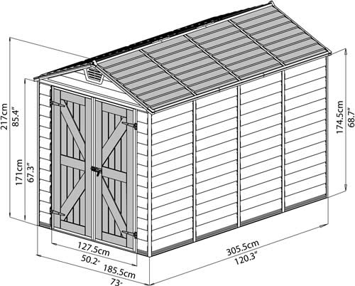 Palram 6x10 Plastic Shed Measurements Diagram