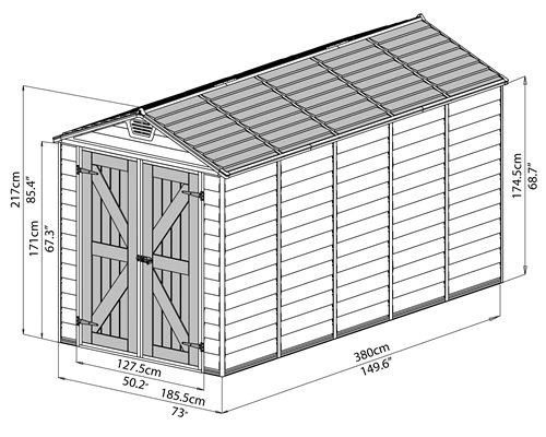 Palram 6x12 Plastic Shed Measurements