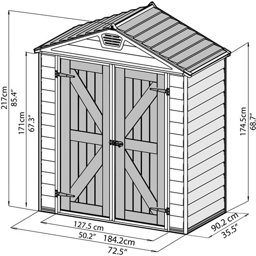 Palram 6x3 Skylight Storage Shed Measurements