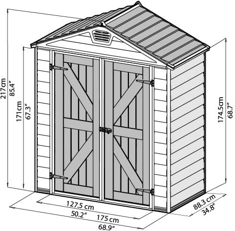 Palram 6x3 Plastic Shed Measurements