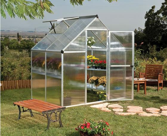 Palram 6x4 Mythos Silver Greenhouse HG5005 assembled in backyard