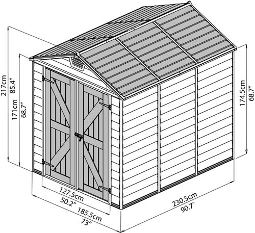 Palram 6x8 Plastic Shed Measurements Diagram