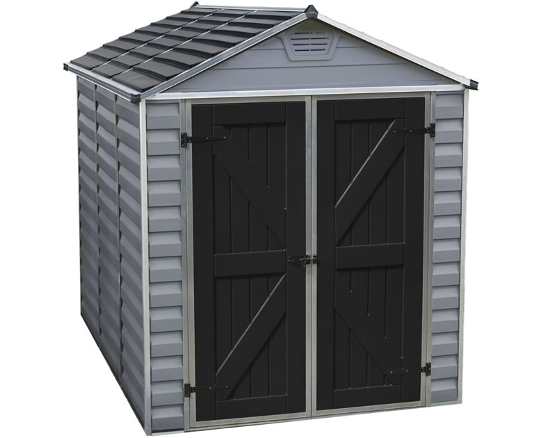 palram 6x8 skylight storage shed kit gray