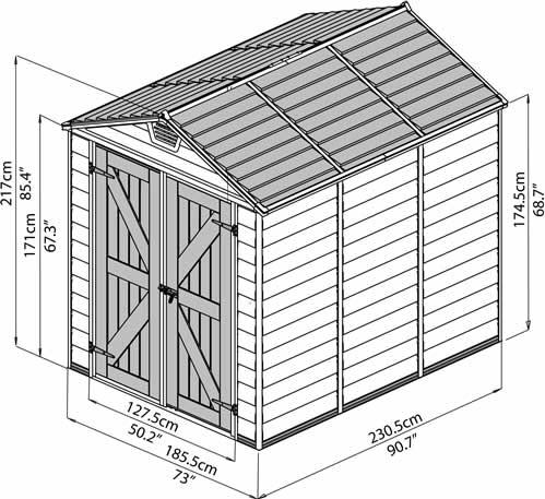 Palram 6x8 Shed Measurements Diagram