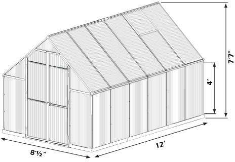 Palram 8x12 Essence Greenhouse Measurements Diagram