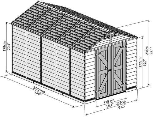 Palram 8x12 Plastic Shed Measurements Diagram