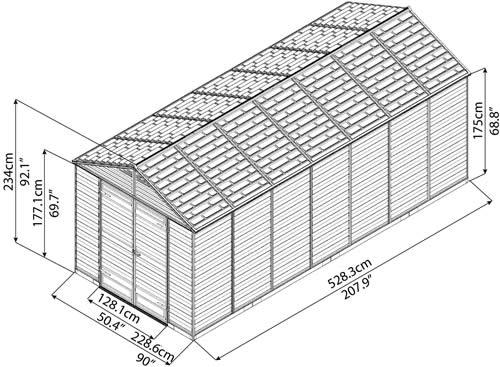Palram 8x16 Plastic Shed Measurements Diagram