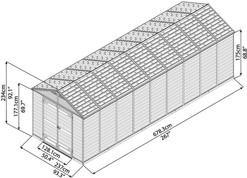 Palram 8x20 Plastic Shed Measurements Diagram