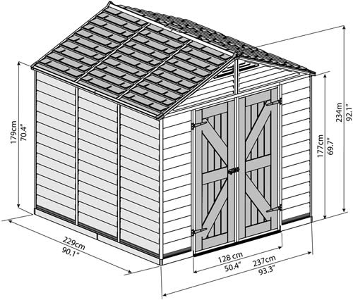 Palram 8x8 Plastic Shed Measurements Diagram