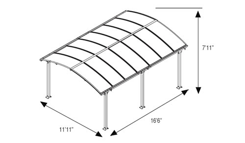 Palram Arcadia Carport Measurements