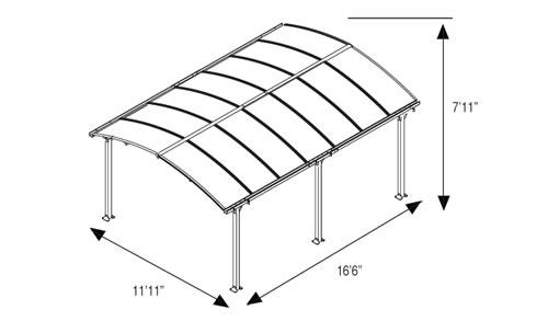 Palram Arcadia Carport Measurements
