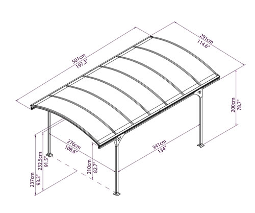 Vitoria Carport Measurements