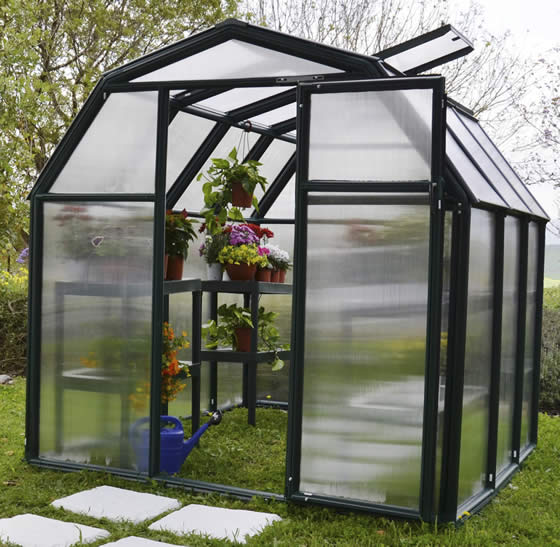 Rion 6x6 EcoGrow 2 Resin Greenhouse Kit Assembled In Backyard