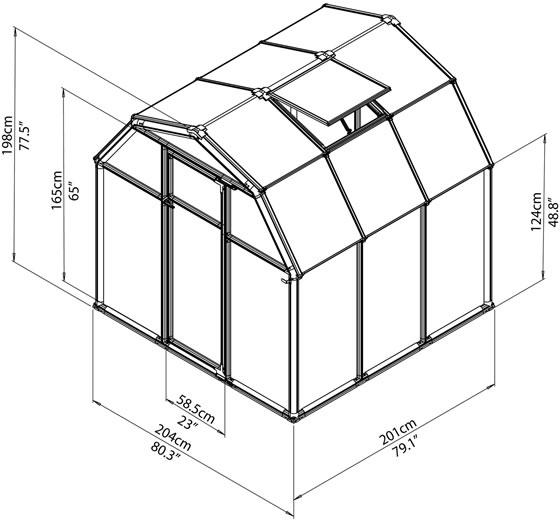 Rion 6x6 EcoGrow 2 Resin Greenhouse Kit - Green [HG7006] Measurements Diagram