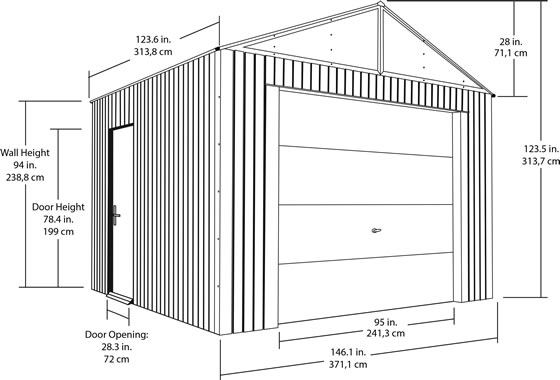 Sojag 12x10 Everest Steel Storage Garage Measurements Diagram
