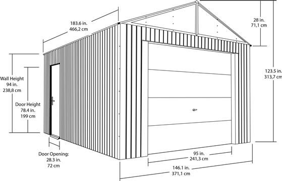 Sojag 12x15 Everest Steel Storage Garage Measurements Diagram