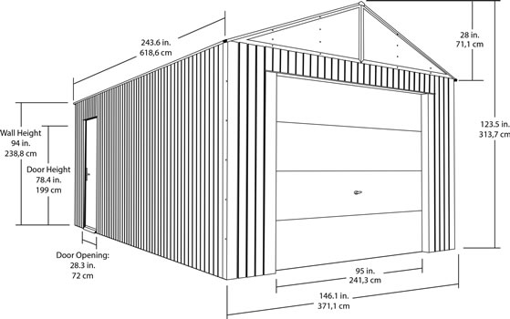 Sojag 12x20 Everest Steel Storage Garage Measurements Diagram