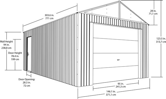 Sojag 12x25 Everest Steel Storage Garage Measurements Diagram