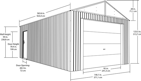 Sojag 12x30 Everest Steel Storage Garage Measurements Diagram