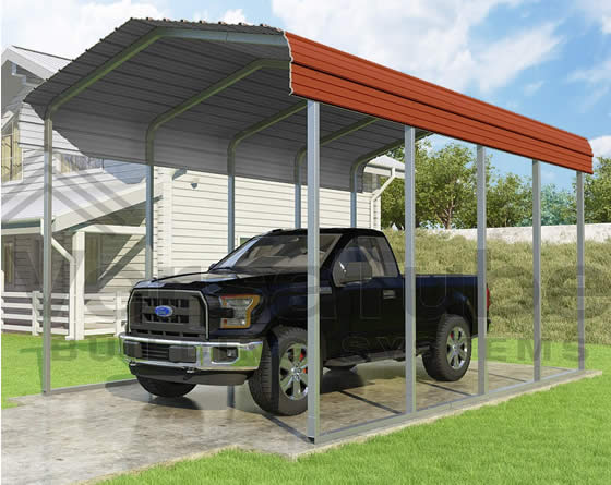 Versatube 12x20x10 Carport - Shown in Red Color