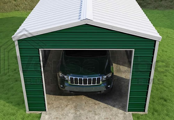 VersaTube 12x20x8 Frontier Steel Garage Kit - Shown In Green With White Roof and Trim