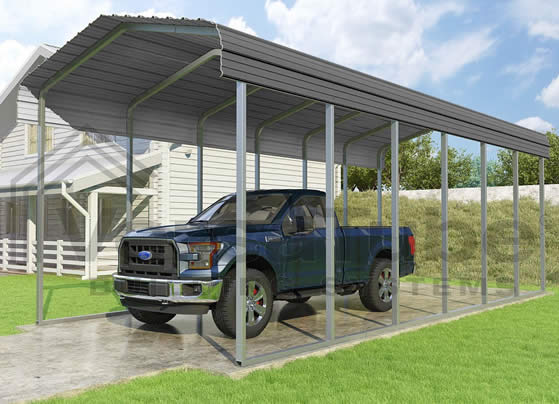 Versatube 12x29x10 Carport - shown in charcoal color