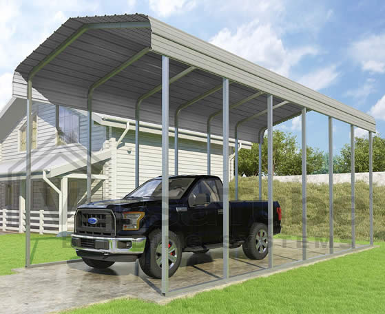 Versatube 12x29x12 Carport - Shown in Gray Color