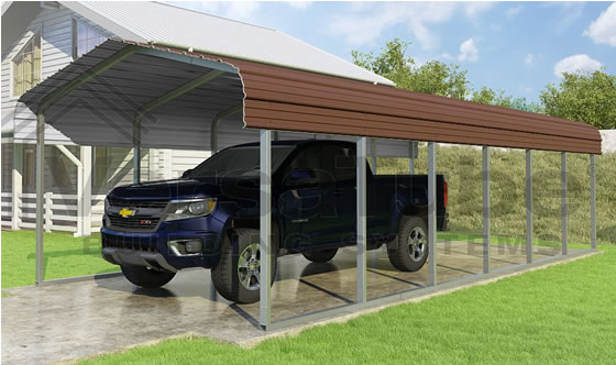 Versatube 12x29x7 Carport - Shown in Brown Color