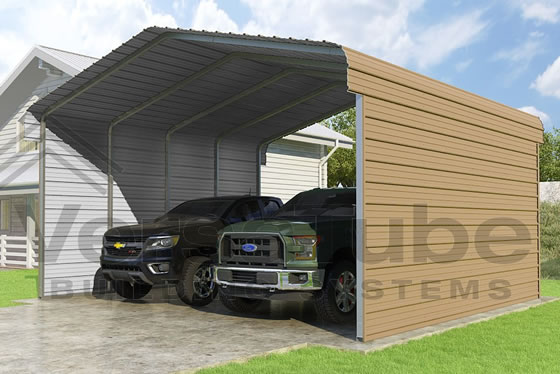 Versatube 2-Sided 20x20x10 Steel Carport Tan Color Option