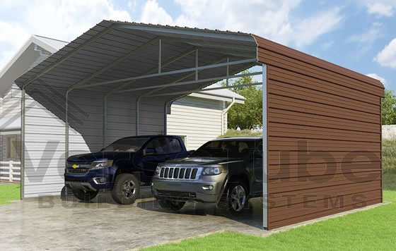 Versatube 2-Sided 24x20x10 Carport - Shown in Brown Color