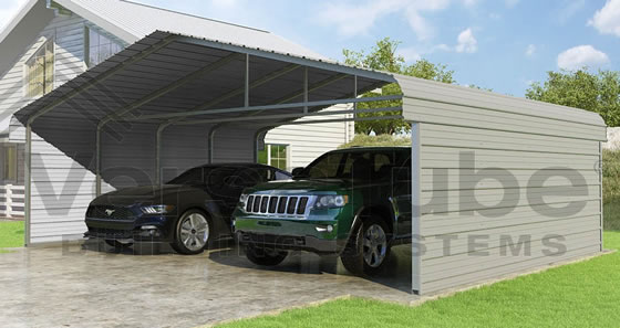 Versatube 2-Sided 24x20x7 Carport - Shown in Gray Color