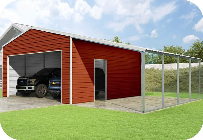 VersaTube 20x20x10 Frontier Garage Kit w/ Lean-To