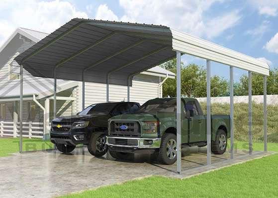 Versatube 3-Sided 20x20x7 Carport - Shown in Green Color