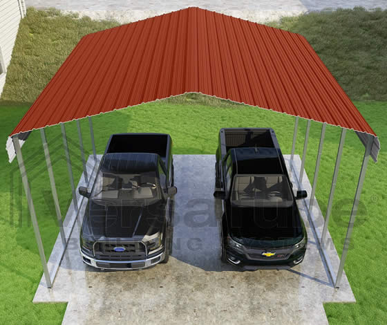 Versatube 20x20x12 Carport - Shown in Red Color