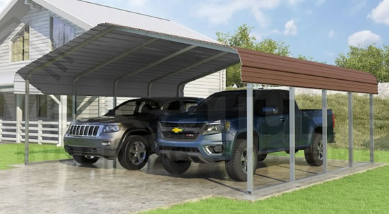Versatube 20x20x7 Carport - Shown in Brown Color